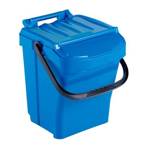 Kosz na odpady z pokrywą 40L niebieski