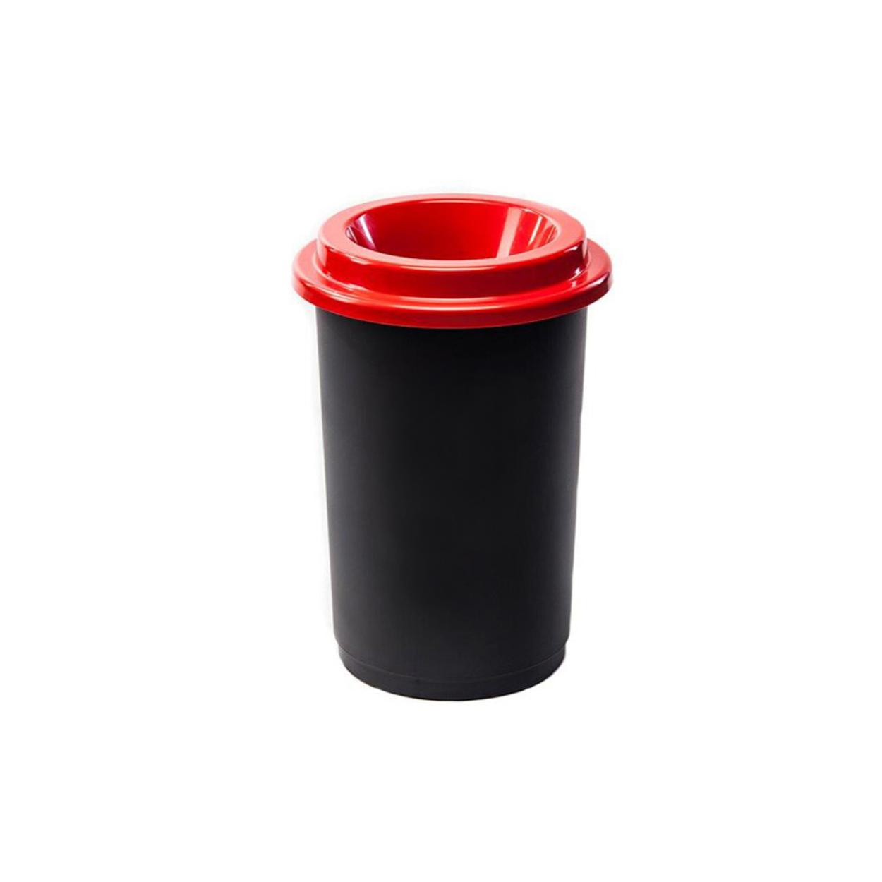 Plastikowy kosz okrągły, do segregacji śmieci 50 l, czerwony