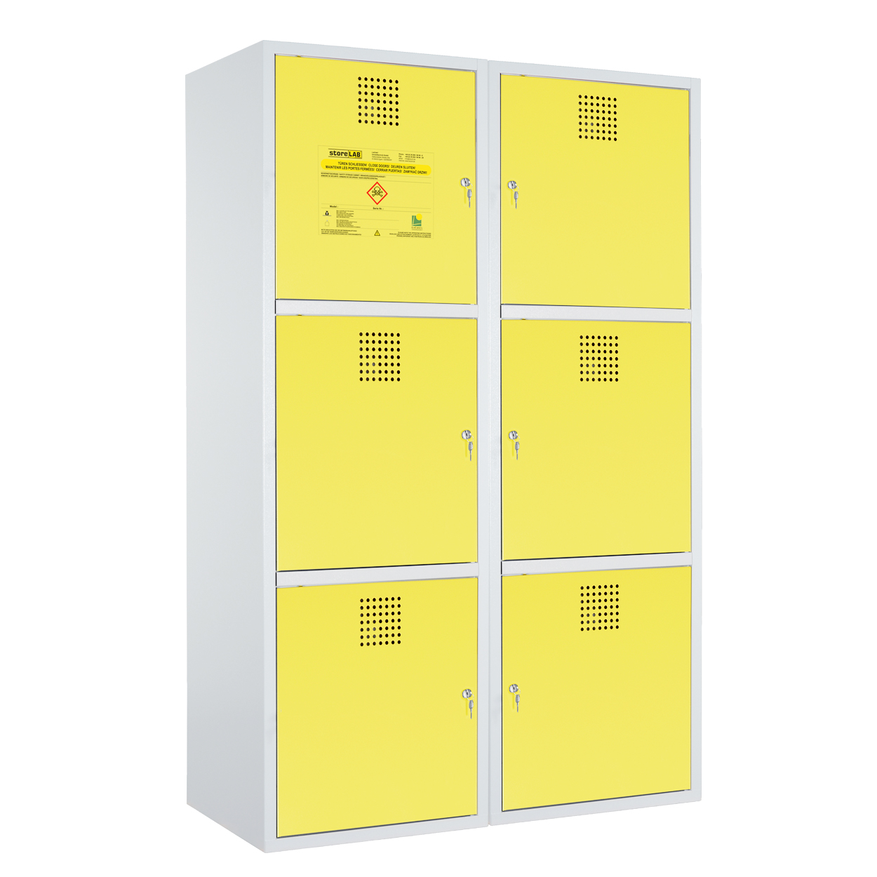 Dzielona szafka na chemikalia - certyfikowana -żółta