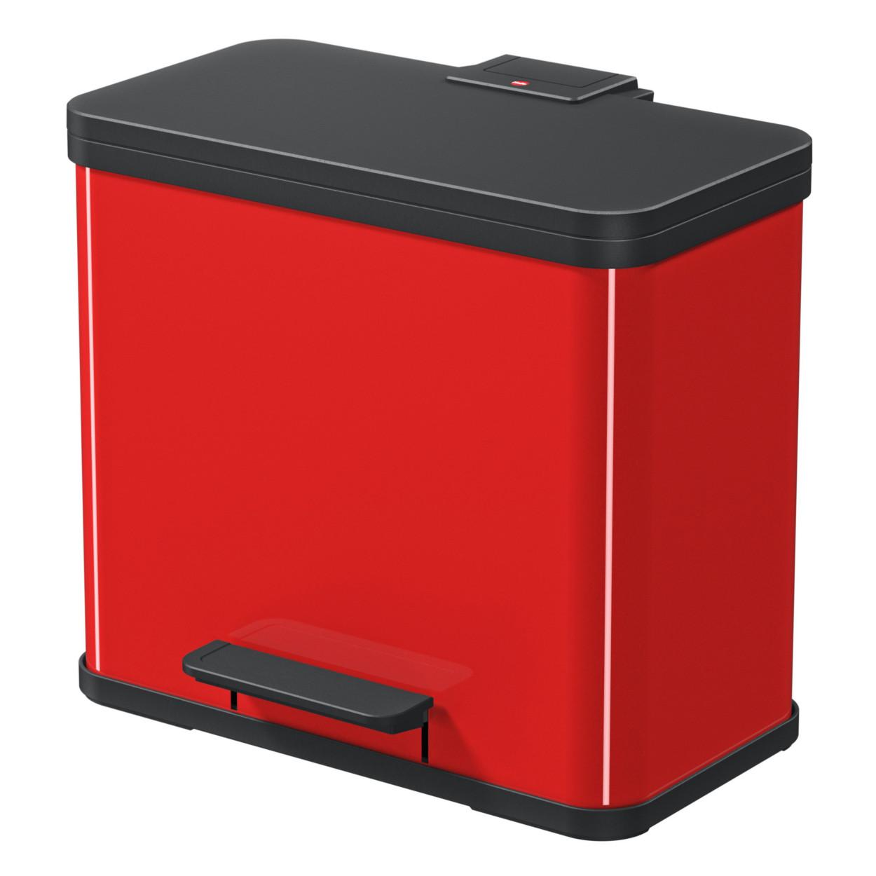 Metalowy kosz z tłumionym zamknięciem, TRIO, 3x9l, czerwony