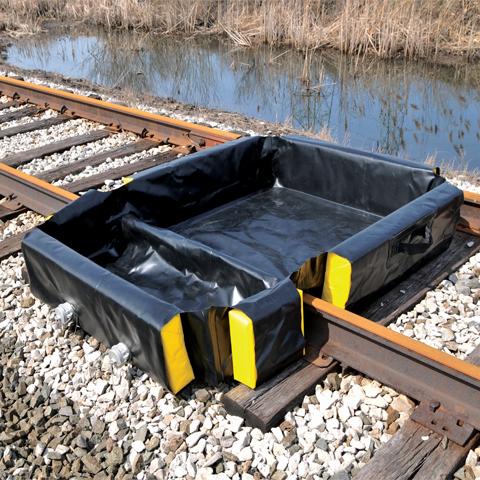 Składana wanna wyłapująca na tory kolejowe