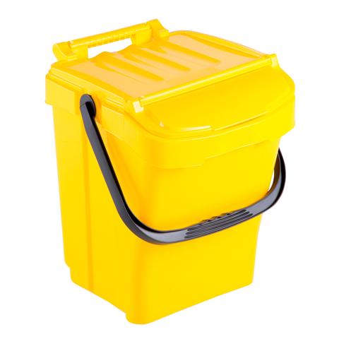 Kosz na odpady z pokrywą 40L żółty