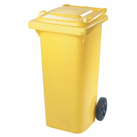 Pojemnik z tworzywa na kółkach żółty