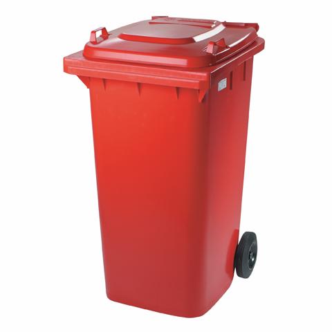 Pojemnik z tworzywa na kółkach czerwony
