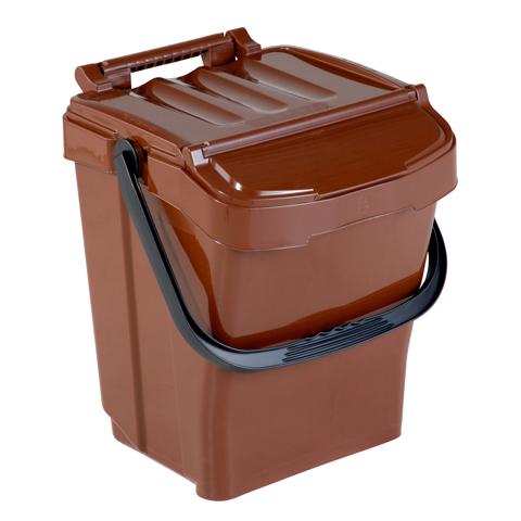 Kosz na odpady z pokrywą 40L brązowy