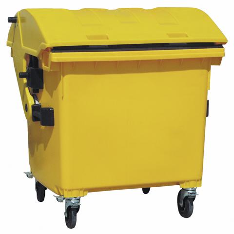 Kontener z tworzywa z okrągłą pokrywą żółty