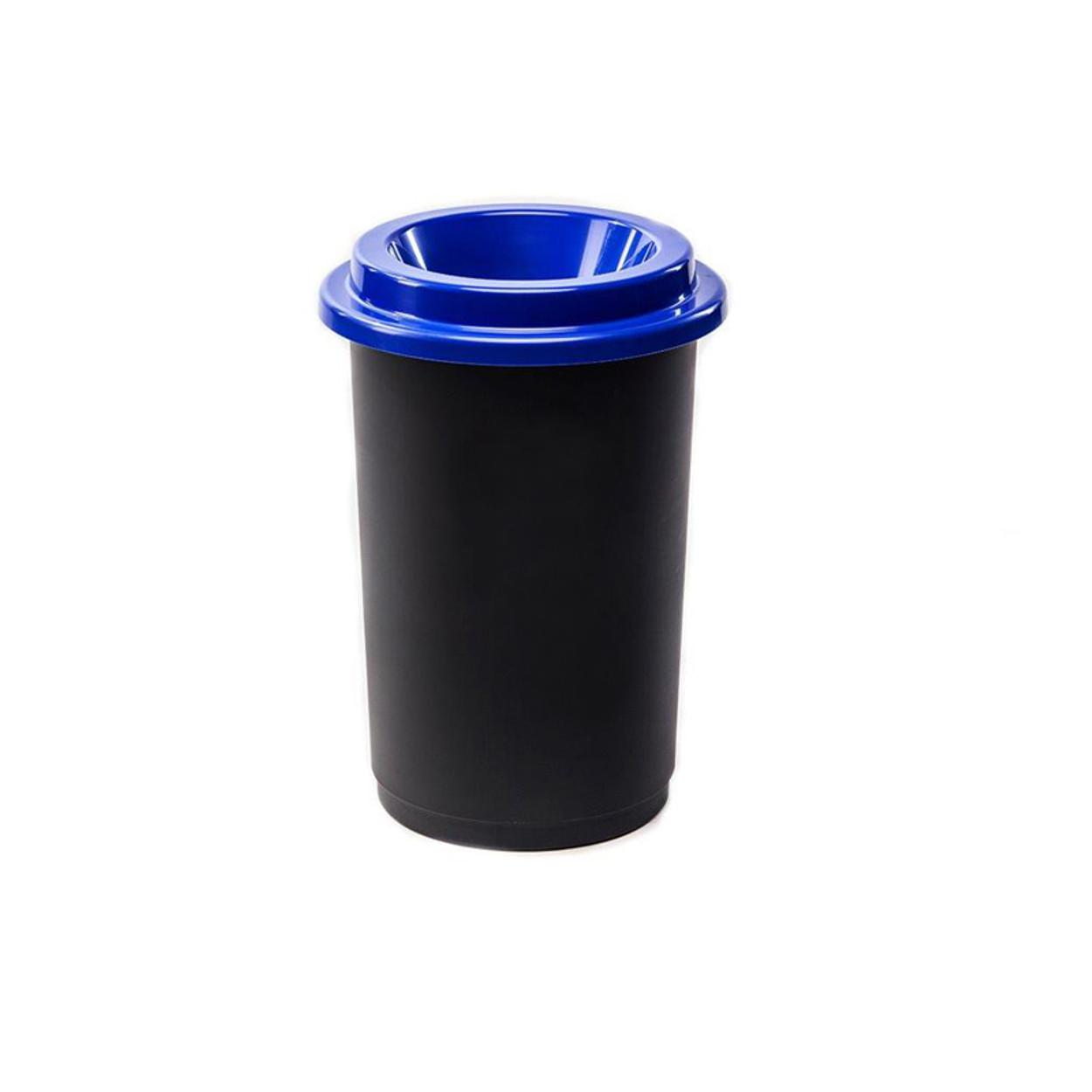 Plastikowy kosz okrągły, do segregacji śmieci 50 l, niebieski